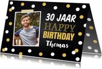 Verjaardagskaarten - Verjaardagskaart foto gouden confetti