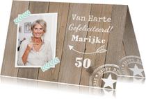 Verjaardagskaarten - Verjaardagskaart foto houtprint
