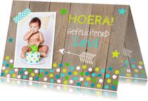 Verjaardagskaarten - Verjaardagskaart foto jongen confetti hout