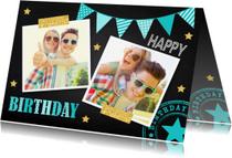 Verjaardagskaarten - Verjaardagskaart fotocollage slinger krijtbord