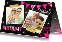 Verjaardagskaarten - Verjaardagskaart fotocollage slinger roze krijtbord