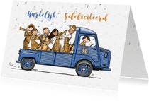 Verjaardagskaarten - Verjaardagskaart HY blauw met orkest