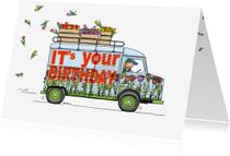 Verjaardagskaarten - Verjaardagskaart HY bus tulpen