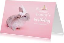 Verjaardagskaart - It's some bunny's birthday - Roze