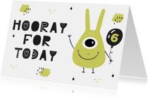 Verjaardagskaarten - Verjaardagskaart jongen groen monster
