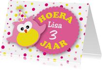 Verjaardagskaarten - Verjaardagskaart lief uiltje roze