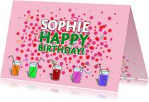 Verjaardagskaarten - Verjaardagskaart met Confetti op roze ondergrond