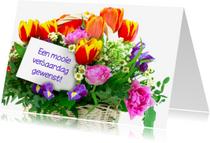 Verjaardagskaarten - Verjaardagskaart met gemengde bloemen