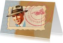 Verjaardagskaarten - Verjaardagskaart  - Vintage Man Blauw