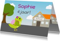 Verjaardagskaarten - verjaardagskaart vogel meisje gaat naar school - DD
