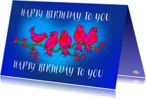 Verjaardagskaarten - Verjaardagskaart vogeltakkie