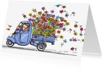 Bedankkaartjes - Vespa Ape met vele bloemen