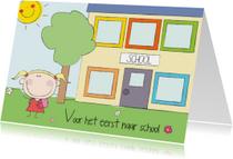 Kinderkaarten - Voor het eerst naar school meisje