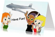 Vakantiekaarten - Vriendinnen en vliegtuig