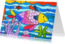 Dierenkaarten - vrolijke dierenkaart met vis