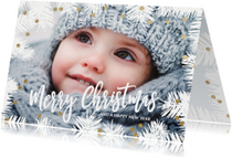 Kerstkaarten - Winterse kerstkaart dennentakken foto