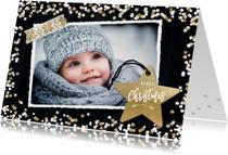 Kerstkaarten - Winterse kerstkaart met foto en label