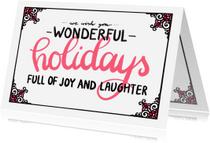 Kerstkaarten - Wonderful holidays rood - EM