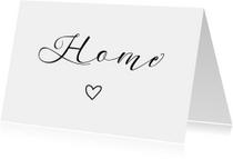 Woonkaart 'Home' met hartje