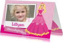 Kinderfeestjes - YVON barbie eigen foto uitnodiging