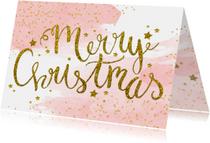 Zakelijke kerstkaarten - Zakelijke kerstkaart aquarel glitter tekst