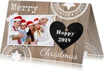 Zakelijke kerstkaarten - Zakelijke kerstkaart foto hout hartje