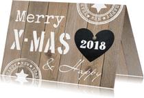 Zakelijke kerstkaarten - Zakelijke kerstkaart typografie hout hartje - LB