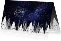 Zakelijke kerstkaarten - Zakelijke kerstkaart witte bomen tegen donkere sterrenhemel