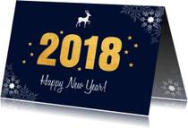 Nieuwjaarskaarten - Zakelijke nieuwjaarskaart 2018 goud sneeuwvlokken