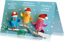 Kerstkaarten - Zingende kerstvogeltjes