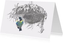 Kunstkaarten - Zonnebloem met koolmeesje
