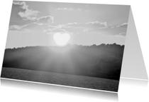 Condoleancekaarten - zonshart zwartwit