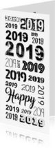 Nieuwjaarskaarten - 2019 herhaald in verschillende lettertypes