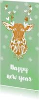 Nieuwjaarskaarten - Aquarel rendier eigen tekst