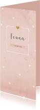Geboortekaartjes - Aquarel roze hartjes langwerpig dubbel