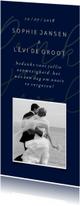 Trouwkaarten - Bedankkaart met gouden tekst en foto langwerpig