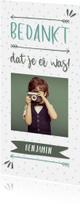 Communiekaarten - Bedankkaart typografisch met confetti en eigen foto jongen