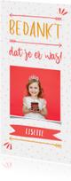 Communiekaarten - Bedankkaart typografisch met confetti en eigen foto meisje