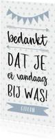 Communiekaarten - Bedankkaart typografisch met slingers en pijlen jongen
