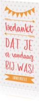 Communiekaarten - Bedankkaart typografisch met slingers en pijlen meisje