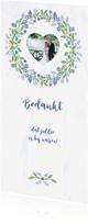 Trouwkaarten - Bedankkaart voor trouwen met blauwe krans