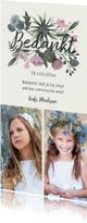 Communiekaarten - Bedankkaartje communie bloem boeket