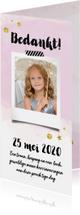 Communiekaarten - Bedankkaartje communie feest roze