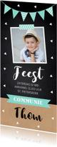 Communiekaarten - Communiekaart jongen foto confetti slinger