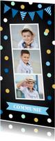 Communiekaarten - Communiekaart jongen fotocollage confetti slinger