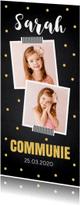 Communiekaarten - Communiekaart langwerpig foto confetti goud