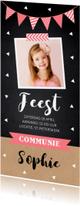 Communiekaarten - Communiekaart langwerpig foto confetti slinger meisje