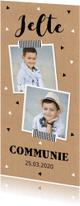 Communiekaarten - Communiekaart langwerpig foto driehoekjes kraftprint