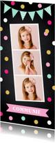 Communiekaarten - Communiekaart langwerpig fotocollage confetti slinger meisje