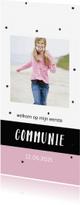 Communiekaarten - Communiekaart met zwarte confetti en eigen foto